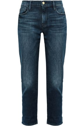 FRAME | Frame Cropped Faded Mid-Rise Slim-Leg Jeans | Goxip