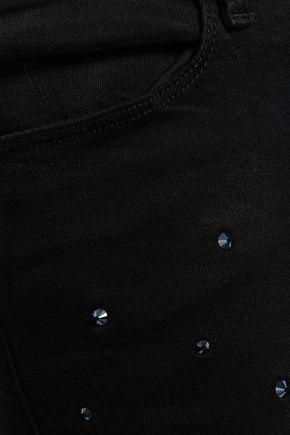 FRAME Le High crystal-embellished high-rise straight-leg jeans