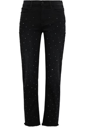 FRAME Le High crystal-embellished high-rise straight-leg jeans