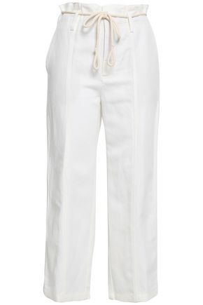VINCE. Linen and cotton-blend twill straight-leg pants