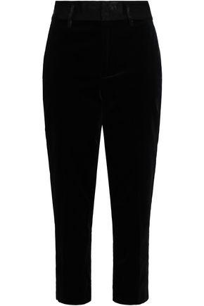 FRAME Cropped cotton-blend velvet tapered pants