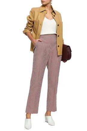 ROSIE ASSOULIN Gingham cotton-blend seersucker straight-leg pants