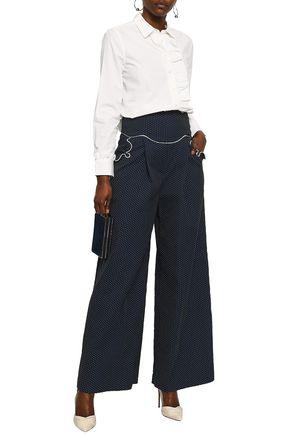 ROSIE ASSOULIN Ruffle-trimmed polka-dot cotton-blend wide-leg pants