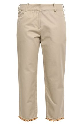 ROSIE ASSOULIN Cropped embellished cotton-twill slim-leg pants