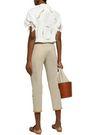 ROSIE ASSOULIN Cropped embellished cotton-twill slim-leg pants