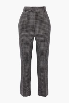 KHAITE Kyle cropped houndstooth wool straight-leg pants