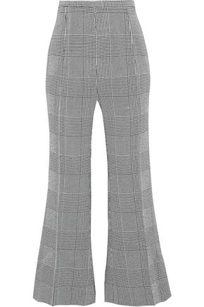 KHAITE Georgia Prince of Wales checked woven flared pants