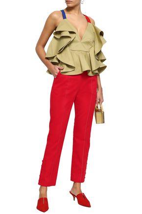 ROSIE ASSOULIN Button-detailed cotton-twill slim-leg pants