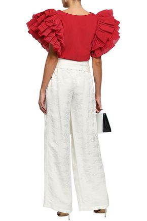 ROSIE ASSOULIN Belted jacquard wide-leg pants