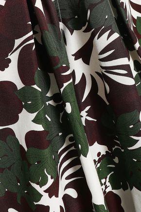 ROSIE ASSOULIN Printed cotton-blend faille wide-leg pants