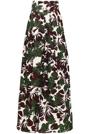 ROSIE ASSOULIN Printed cotton-blend faille wide-leg pants