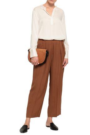 AMERICAN VINTAGE Pleated polka-dot crepe wide-leg pants