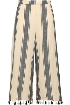 DODO BAR OR Baka tassel-trimmed striped cotton-gauze culottes