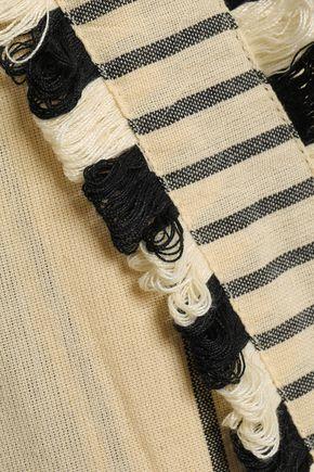 DODO BAR OR Kika fringe-trimmed striped cotton-gauze wide-leg pants