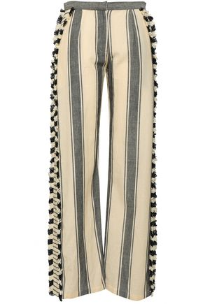 DODO BAR OR Kika fringe-trimmed striped cotton-gauze wide-leg pants