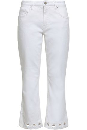 VICTORIA, VICTORIA BECKHAM Perforated cropped high-rise bootcut jeans