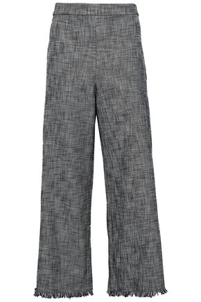 REBECCA TAYLOR Frayed cotton-blend tweed culottes