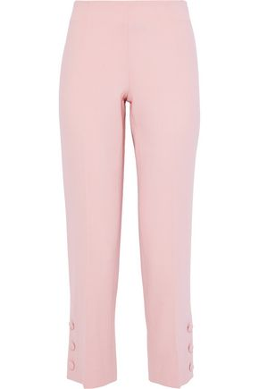 LELA ROSE Cropped button-detailed wool-blend crepe straight-leg pants
