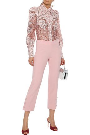 LELA ROSE Cropped button-detailed wool-blend crepe straight-leg pants