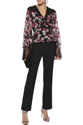 Giambattista Valli Woman Crepe Straight-Leg Pants Black