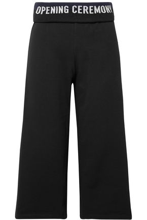 OPENING CEREMONY Cropped ribbed knit-trimmed cotton-jersey wide-leg pants