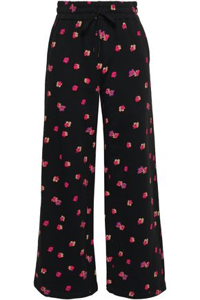 REBECCA TAYLOR Floriana floral-print cotton-fleece wide-leg pants