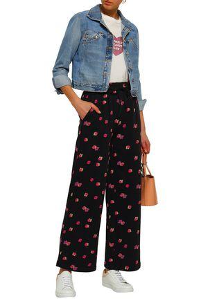 REBECCA TAYLOR Floriana floral-print cotton-fleece wide-leg pants