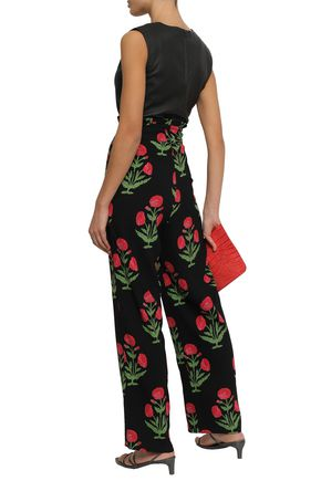 ANTIK BATIK Floral-print crepe straight-leg pants