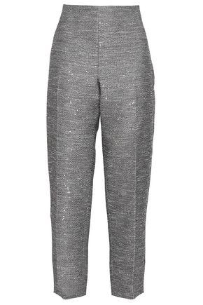 LELA ROSE Sequined woven straight-leg pants