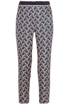 VICTORIA, VICTORIA BECKHAM Printed silk-twill slim-leg pants