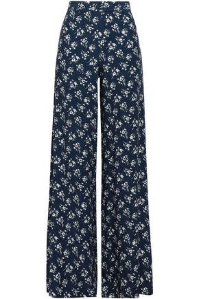 LOVER Floral-print crepe-satin wide-leg pants