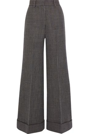 KHAITE Beatrice houndstooth wool wide-leg pants