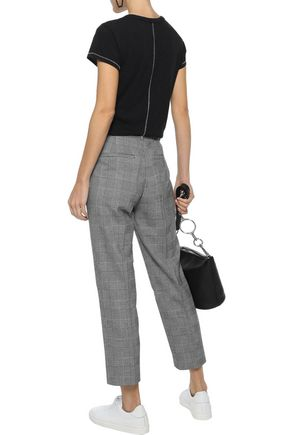 REBECCA MINKOFF Louisa cropped Prince of Wales checked cady straight-leg pants