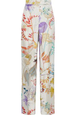 AGNONA Floral-print silk-twill straight-leg pants