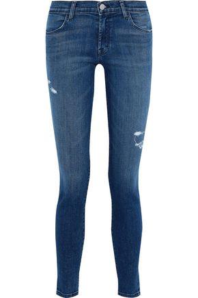 J BRAND Mystic distressed mid-rise skinny jeans