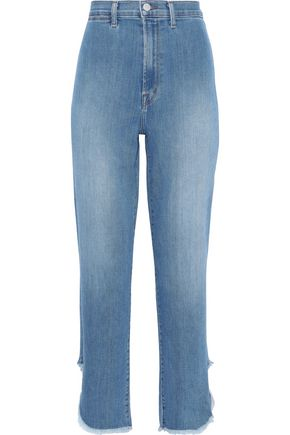 J BRAND Stovepipe frayed high-rise straight-leg jeans