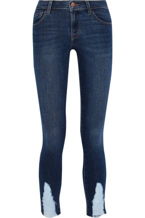 J BRAND Midnight Moon distressed mid-rise skinny jeans