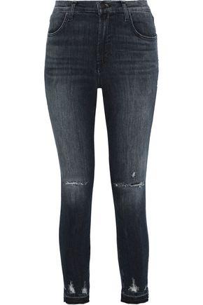 J BRAND Alana distressed mid-rise skinny jeans