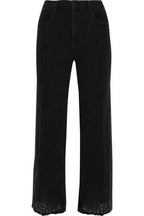 J BRAND Joan laser-cut leather-paneled high-rise wide-leg jeans