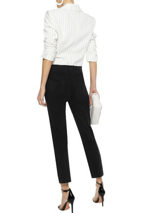 J BRAND Ruby laser-cut leather-paneled mid-rise straight-leg jeans