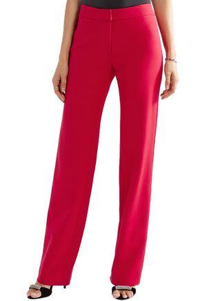 CAROLINA HERRERA Satin-trimmed stretch-wool straight-leg pants