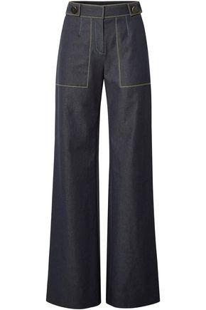 CAROLINA HERRERA Button-embellished high-rise wide-leg jeans