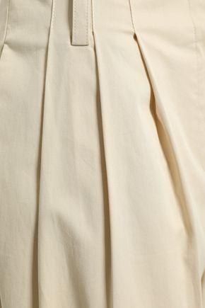 DIANE VON FURSTENBERG Pleated stretch-cotton twill wide-leg pants