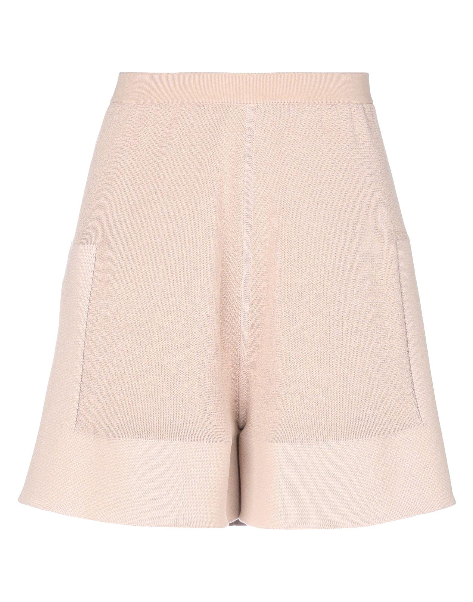 RICK OWENS Shorts. knitted, no appliqués, lightweight sweater, basic solid color, elasticized waist, no pockets, side slit hemline. 97% Cotton, 2% Polyamide, 1% Elastane