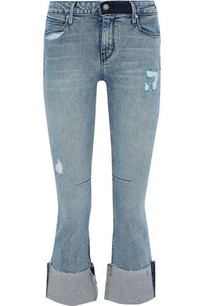 RTA Duchess distressed mid-rise kick-flare jeans