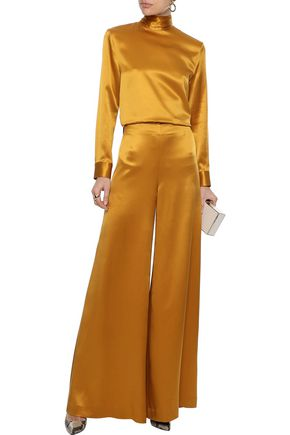 ADAM LIPPES Silk-satin wide-leg pants