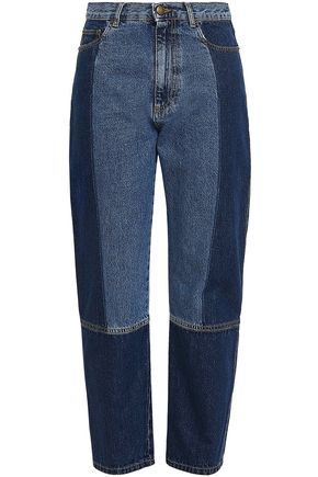 McQ Alexander McQueen Cropped two-tone high-rise straight-leg jeans