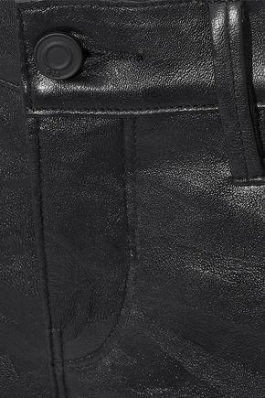 RTA Kiki denim-trimmed zebra-print leather kick-flare pants