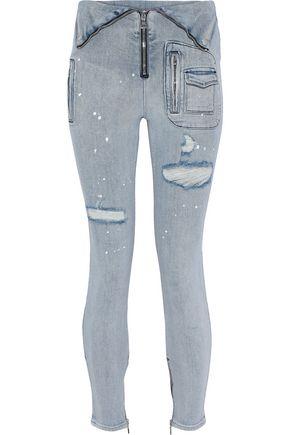 RTA Diavolina moto-style distressed mid-rise skinny jeans