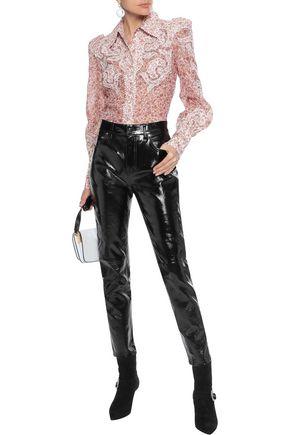 DEREK LAM 10 CROSBY Cropped crinkled patent-leather slim-leg pants